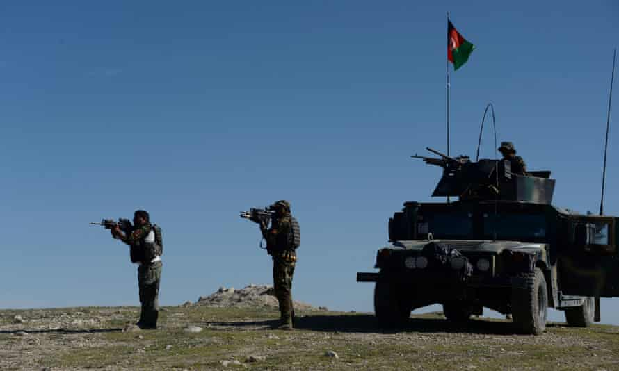 Afghan security forces in Nangarhar province, where the US bomb targeted Isis militants, on Friday.