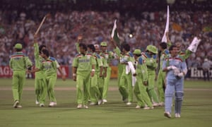 Pakistan celebrate as they take England's last wicket, that of Richard Illingworth, and win the 1992 Cricket World Cup at the MCG in Melbourne.