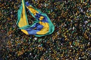 Supporters of Brazilian President Jair Bolsonaro demonstrate at Paulista Avenue in Sao Paulo.