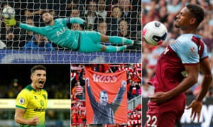 Hugo Lloris concedes the first of Bayern Munich's seven goals, West Ham United's Sébastien Haller, Liverpool fans honour Brendan Rodgers during his tenure at Anfield and Norwich City's Ben Godfrey.