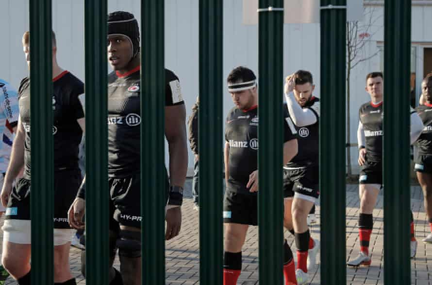 Maro Itoje and his Saracens teammates walk out for the second half of the European Champions Cup match against Racing 92 at Allianz Park on 19 January.