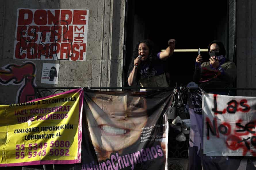 Activist Yesenia Zamudio, whose teenage daughter was killed in a suspected femicide, speaks as demonstrators occupy the human rights commission building in Mexico City on 14 September.