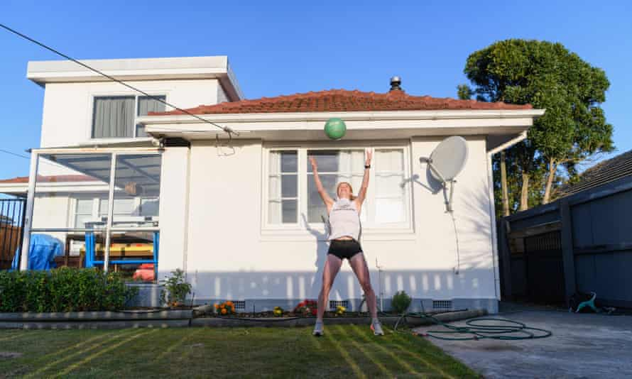 New Zealand middle-distance runner Angie Petty training in isolation in her backyard in Christchurch, New Zealand.