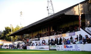 A bumper crowd in the main stand at Victory Park as Chorley play host to Bolton Wanderers in a friendly ahead of the start of the 2010/11 season .