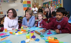 The Labor candidate for Batman, Ged Kearney, and the deputy Labor leader, Tanya Plibersek, visit Preston West primary school in Melbourne