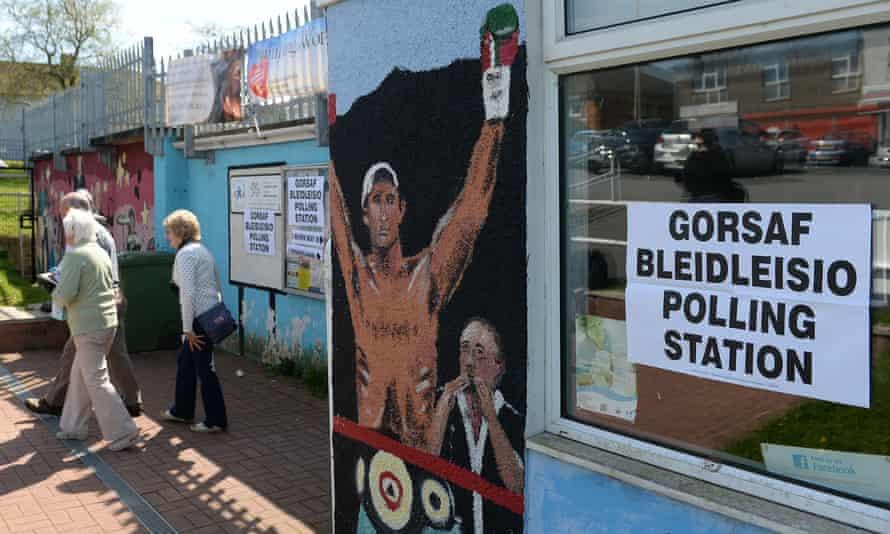 A polling station in Bridgend, Wales.