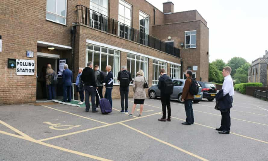UK General Election, polling day, London, UK - 08 Jun 2017Mandatory Credit: Photo by Amer Ghazzal/REX/Shutterstock (8860345b) The First voters queue at the polling station in Sacred heart church Wimbledon to cast their vote at the general Election UK General Election, polling day, London, UK - 08 Jun 2017