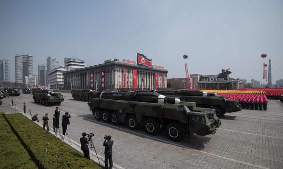 Missile launchers on a parade through Pyongyang