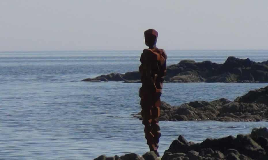 Gormley's sculpture GRIP in Saddell Bay, on the Kintyre peninsula, Scotland