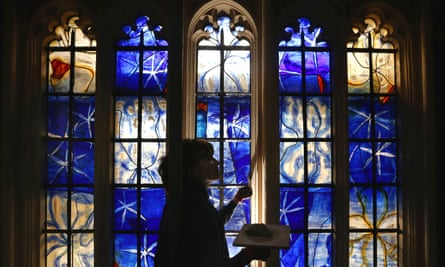 Vague and soft-centred ... Hughie O'Donoghue's stained glass windows in Westminster Abbey.