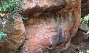 Art rupestre autochtone dans le parc national de Kakadu, dans le Territoire du Nord.