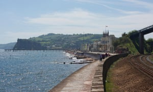 Teignmouth's pretty seafront with Brunel's famous Riviera railway to the right