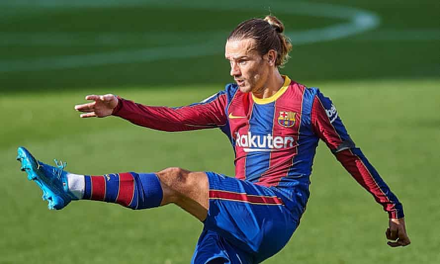Barcelona's Antoine Griezmann, pictured at the Camp Nou last month, has announced 'the immediate termination of my partnership' with Huawei.