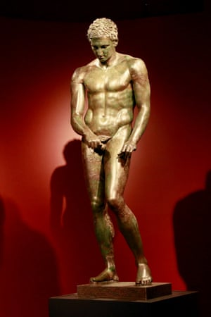 A sculpture titled Athlete, The Croatian Apoxyomenos, Greek, 1st century BC