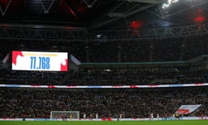 The attendance figure – a record for the England women's team – is displayed at Wembley.