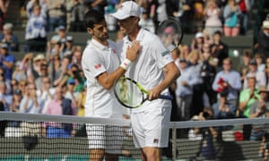 Sam Querrey is congratulated by Novak Djokovic after his upset win.
