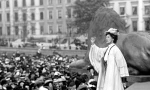 Emmeline Pankhurst addressing a meeting in Trafalgar Square, London, in 1908.