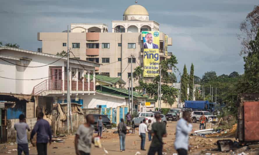 The headquarters of the Gabonese opposition leader Jean Ping in Libreville.