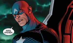 Now we're scared … Captain America hails Hydra in Steve Rogers: Captain America #1 by Nick Spencer and Jesus Sais.