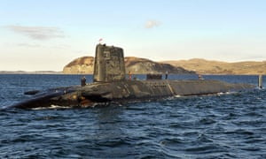 The Trident nuclear submarine, HMS Victorious, on patrol off the west coast of Scotland.