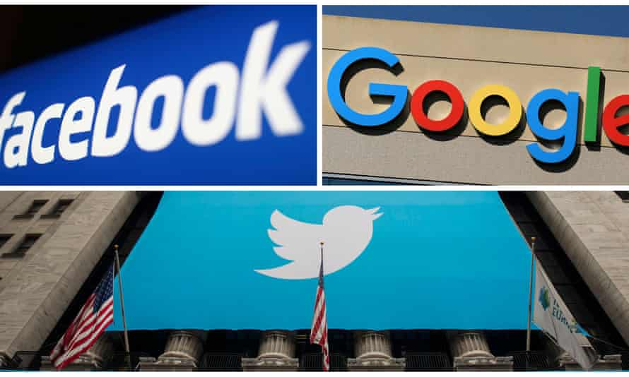 Facebook, Google, Twitter logos