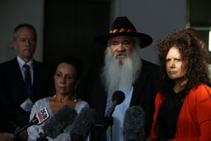 Opposition leader Bill Shorten with Linda Burney, Malarndirri McCarthy and Pat Dodson at a doorstop after attending the Closing the Gap steering committee breakfast in Parliament House in Canberra this morning.