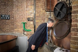 Britain's Chancellor of the Exchequer Philip Hammond visiting Fuller's Brewery, in Chiswick, today