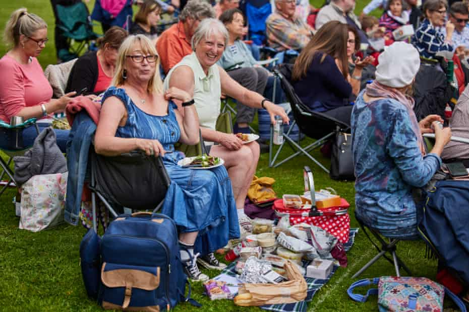 Hazel (left) and Lindsay from Wiltshire get ready for the show at Glastonbury Abbey