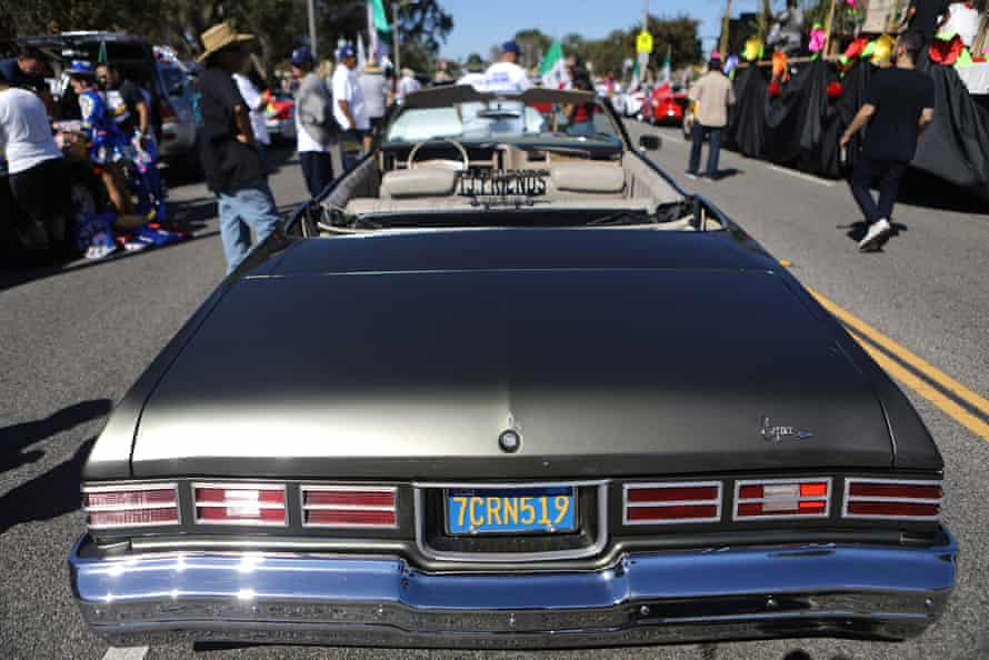 A lowrider is parked before the 72nd annual East LA Mexican Independence Day parade on on 16 September 2018.
