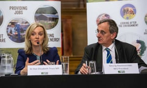 Elizbaeth Truss, environment secretary, and Meurig Raymond, NFU president, on a panel at the Conservative party conference.