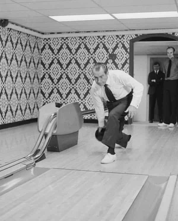 President Richard Nixon's bowling alley, 1971.