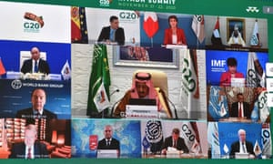 Saudi King Salman bin Abdulaziz gives an address opening the G20 summit, held virtually due to the pandemic.
