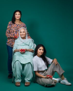 Pastry chef Ravneet Gill, photographed with her mother Jaswinder Gill and grandmother Jit Atkar