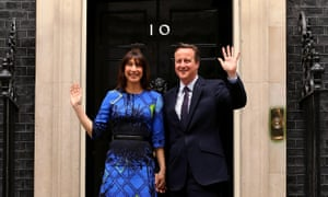 David and Samantha Cameron arrive at Downing Street on 8 May after the Conservative party's general election win.