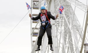 Boris Johnson stuck on zip line