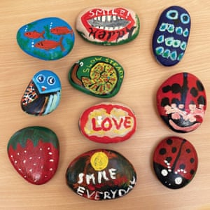 Pebbles decorated by care residents.