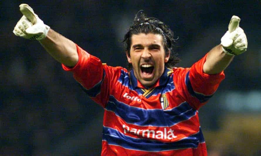 Gianluigi Buffon celebrates after Parma score for a second time against Marseille in the 1999 Uefa Cup final