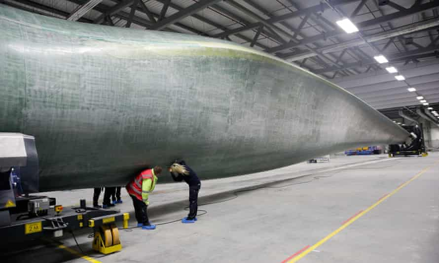 Quality control checks on a wind turbine blade at a factory in Hull.