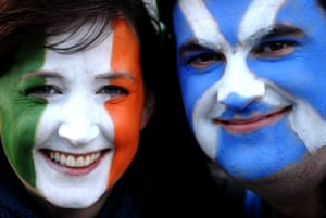 Irish and Scottish fans at the RBS Six Nations match at Croke Park in Dublin.