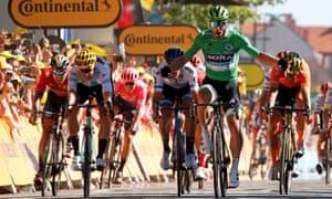 Peter Sagan crosses the line first in Colmar.