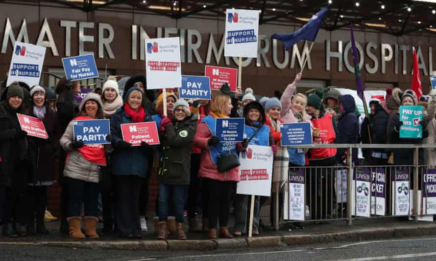 A picket line outside the Mater Infirmorum hospital in Belfast on Wednesday.