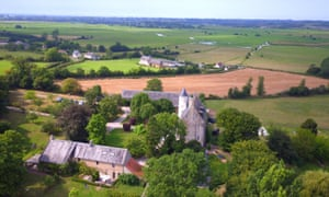 Aerial view of Chateau Monfreville, France.