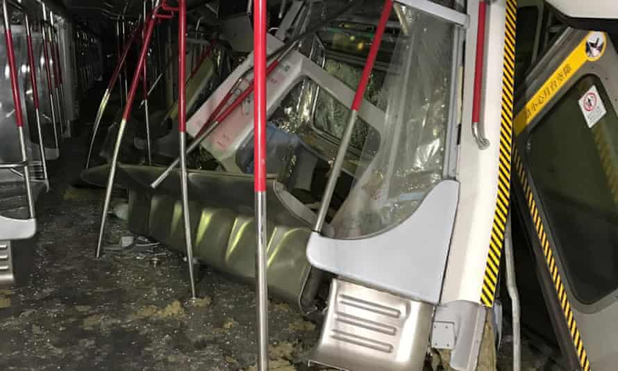 A train damaged in a collision in Hong Kong