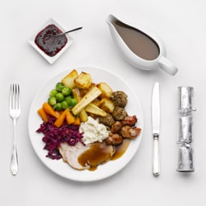 Christmas Dinner Roast Turkey dinner, cranberry sauce, gravy in a gravy boat, sprouts