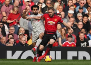Salah and Shaw battle for possession.
