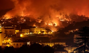 A wildfire in Monchique in Portugal in 2018