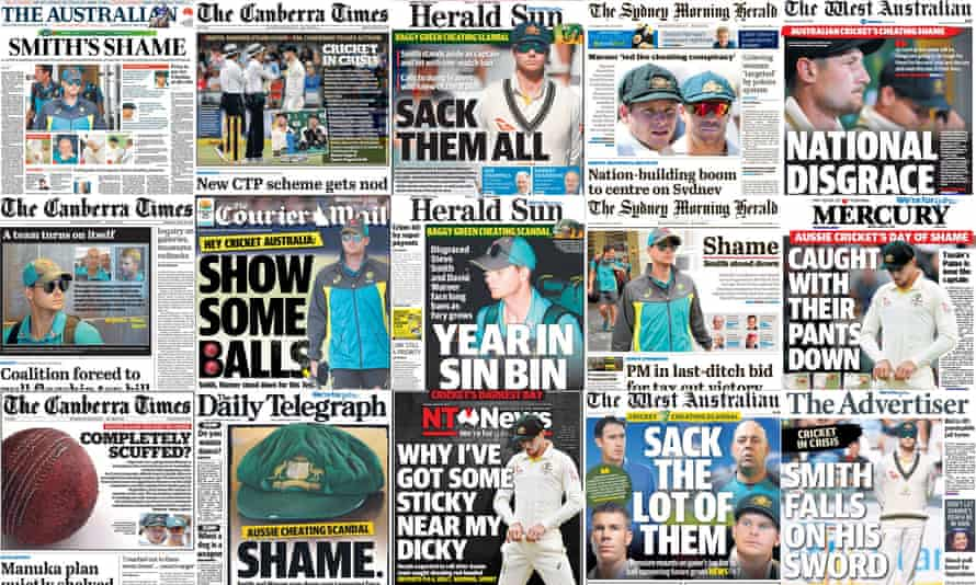 How the newspapers in Australia have reacted to the ball-tampering scandal.