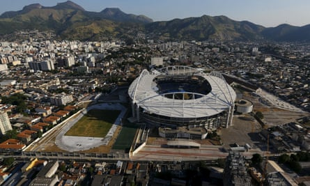 An aerial view of Rio Olympic Stadium, with 100 days to go until the Games begin