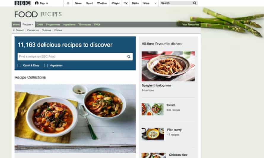Screengrab of the BBC food recipes website