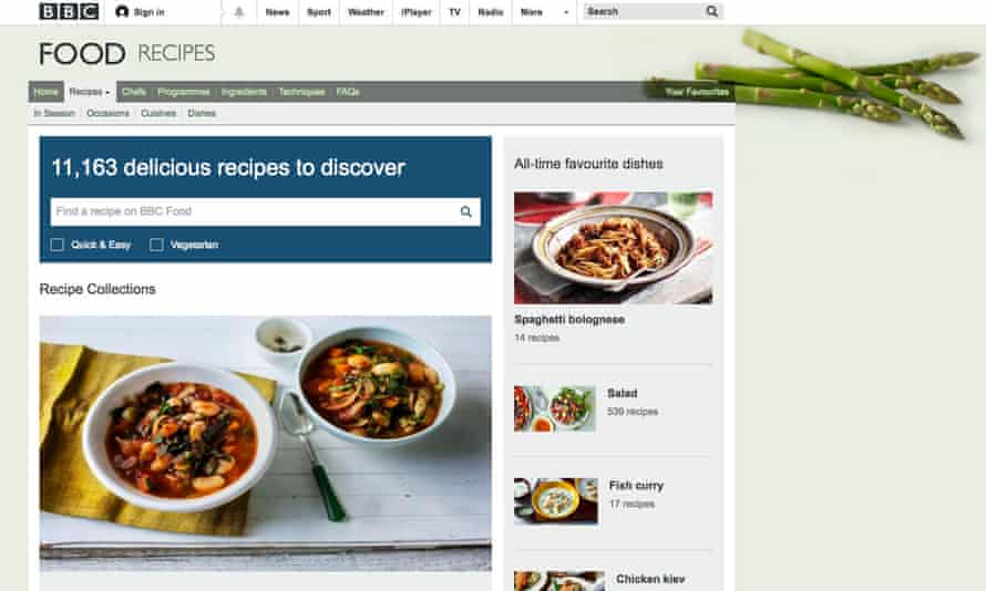 BBC food recipes website front screengrab
